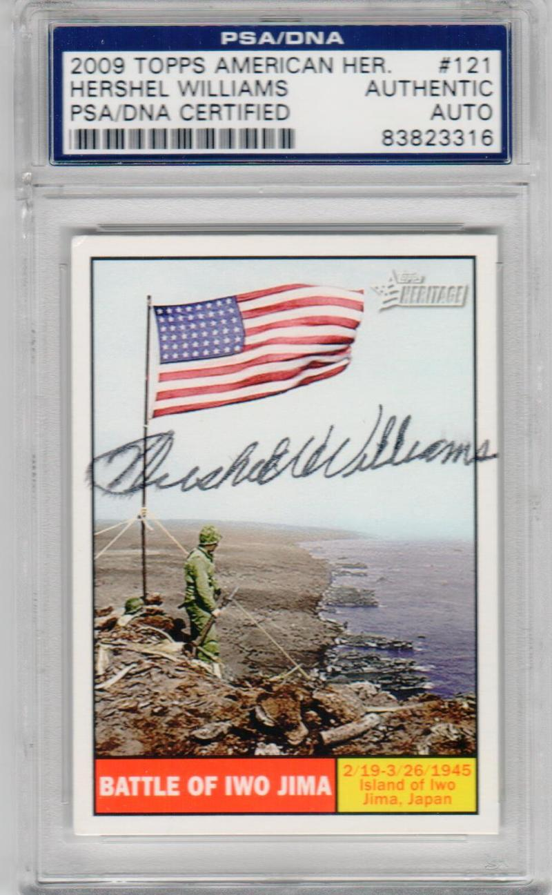 Hershel Williams signed 2009 Topps American Heritage Battle of Iwo Jima PSA/DNA World War II Medal of Honor MOH