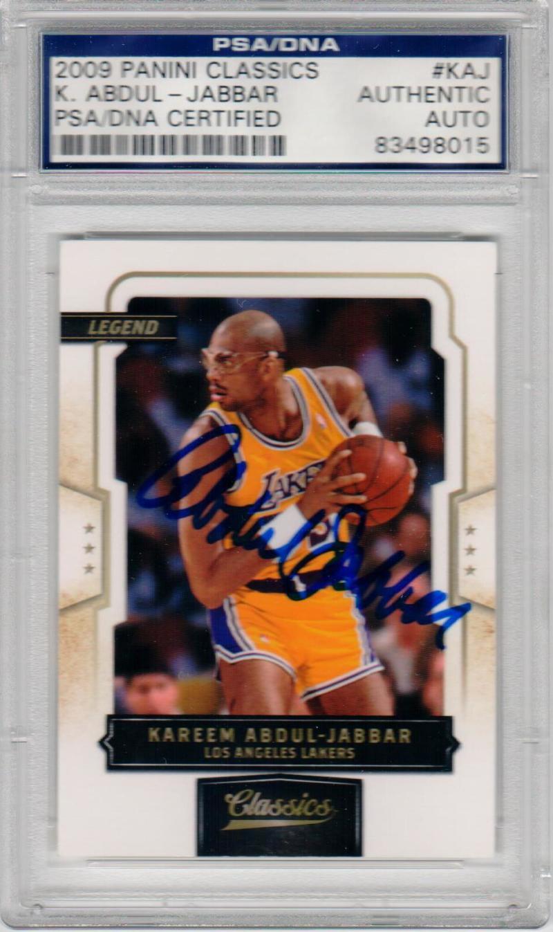 Kareem Abdul-Jabbar signed 2009 Panini Classics Basketball Card PSA/DNA auto Lakers