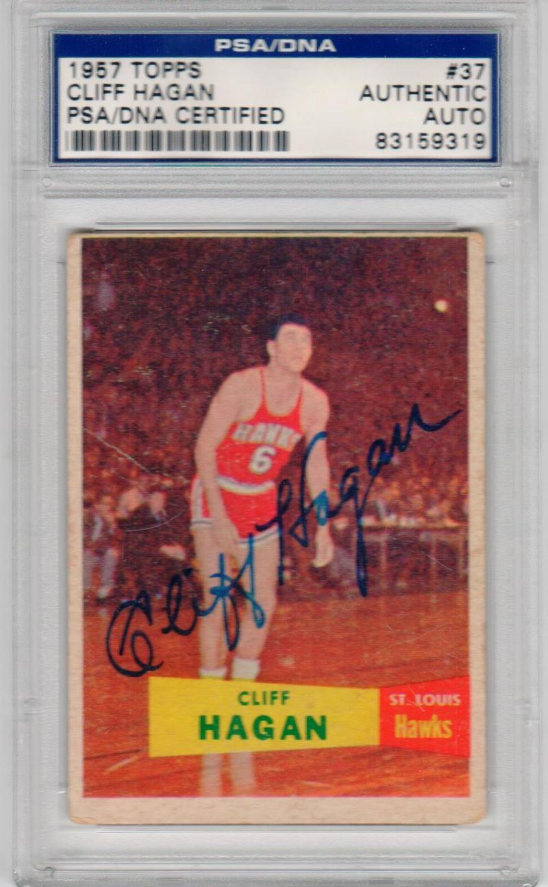 Cliff Hagan signed 1957-58 Topps Rookie Basketball Card RC #37 PSA/DNA HOF RARE