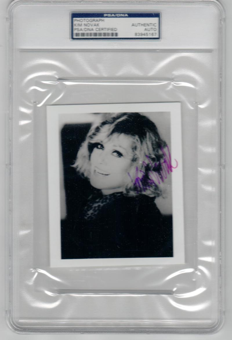 Kim Novak signed 4x5 photo PSA/DNA Slabbed autograph