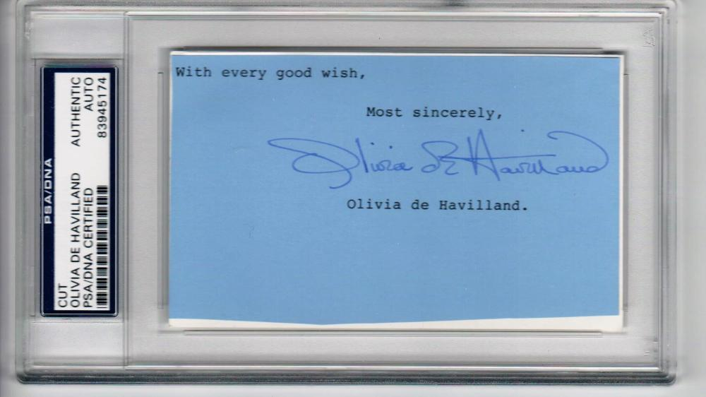 Olivia de Havilland Oscar Winning Actress signed 3x5 cut signature PSA/DNA Slabbed auto