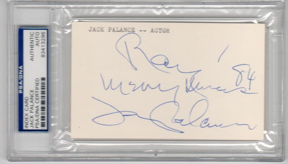 Jack Palance Actor Sudden Fear Shane signed 3x5 Index Card PSA/DNA Slabbed
