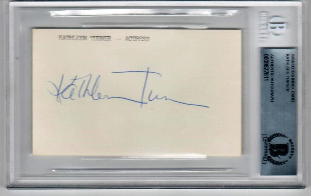 Kathleen Turner Romancing the Stone signed 3x5 Index Card Beckett BAS Slab auto