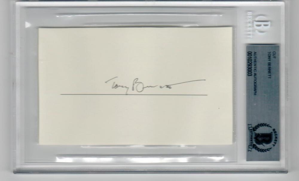 Tony Bennett signed 3x5 cut signature Becket BAS slabbed autograph
