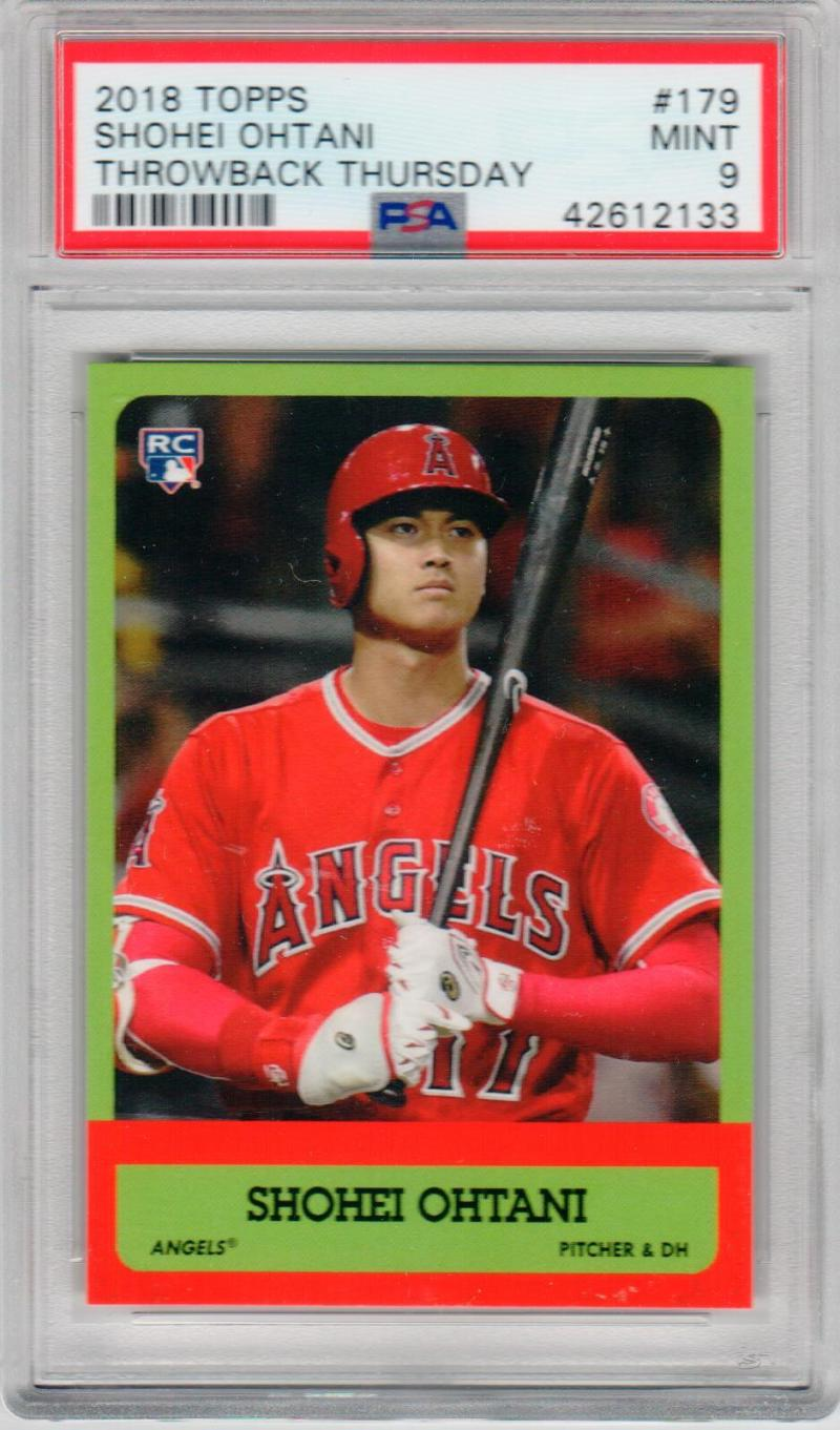 Shohei Ohtani Angels 2018 Topps Throwback Thursday 1963 Football design PSA 9