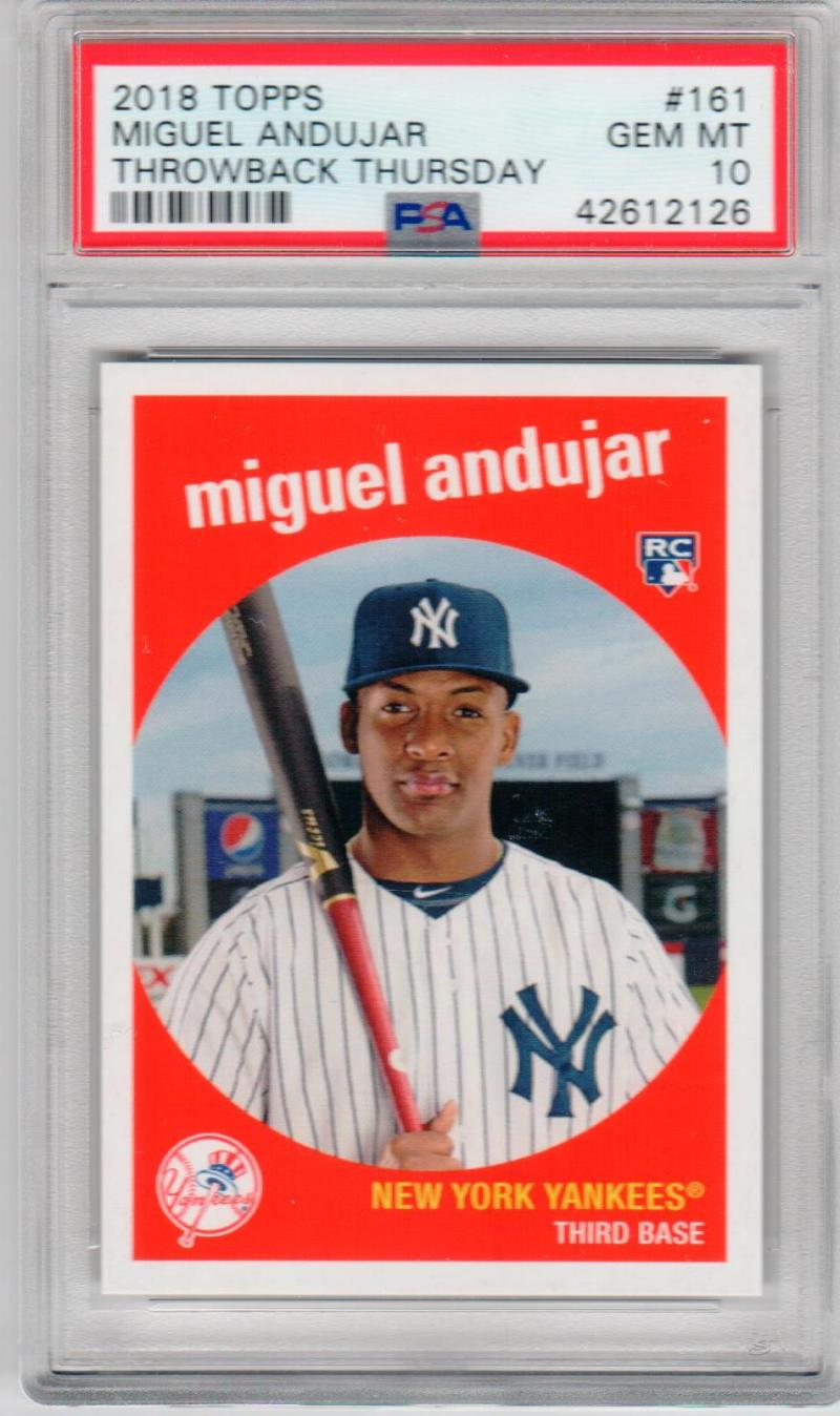 Miguel Andujar Yankees 2018 Topps Throwback Thursday 1959 design Rookie RC PSA 10