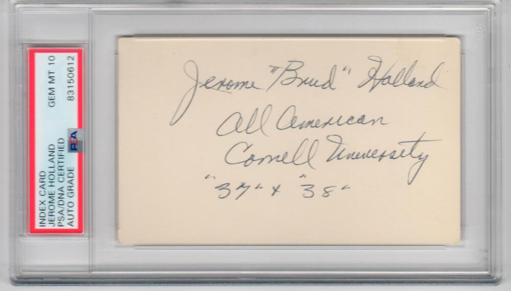 Jerome Brud Holland Cornell CHOF Signed 3x5 Index Card PSA/DNA d 85 auto Grade 10