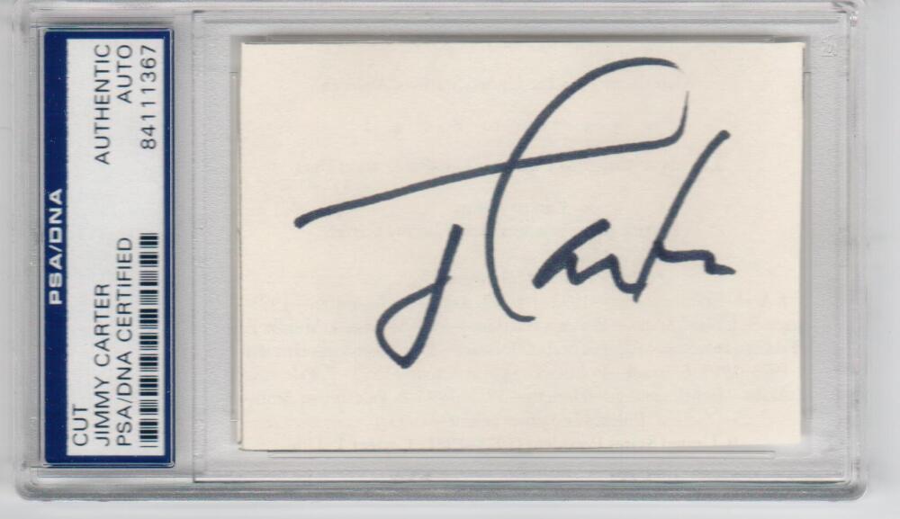 President Jimmy Carter cut signature PSA/DNA slab autograph POTUS auto
