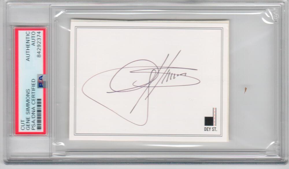 Gene Simmons KISS signed cut signature PSA/DNA slabbed autograph auto