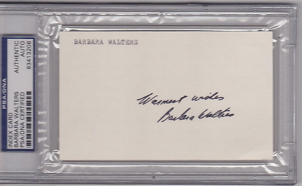 Barbara Walters signed 3x5 Index Card PSA/DNA Slabbed auto