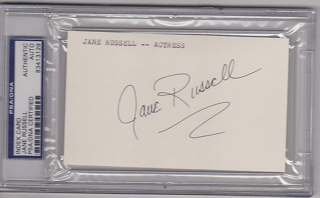 Jane Russell Actress signed 3x5 Index Card PSA/DNA Slabbed auto