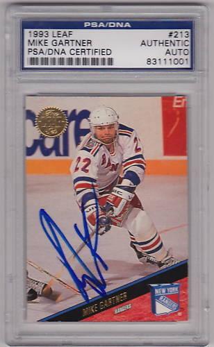 Mike Gartner signed 1993 Leaf Hockey Card PSA/DNA Slab