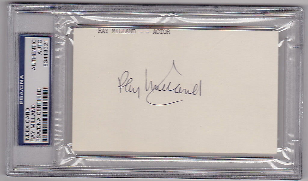 Ray Milland Lost Weekend Best Actor Oscar signed 3x5 Index Card PSA/DNA Slabbed