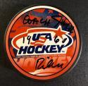 Jack Riley 1960 Olympic Gold Medal Win Coach signed USA Hockey Puck PSA/DNA ITP