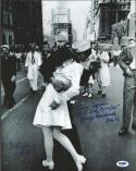 George Mendonsa Greta Friedman Times Square Kiss WWII signed 11x14 photo PSA/DNA