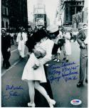 George Mendonsa Greta Friedman signed 8x10 Photo WW2 VJ Day Kissing Sailor PSA/DNA