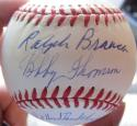 Bobby Thomson Ralph Branca signed Baseball Ball PSA/DNA Shot Heard Round inscrip