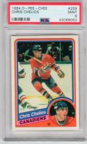 1984 OPC Chris Chelios Rookie Card RC PSA 9 MINT Canadiens Blackhawks