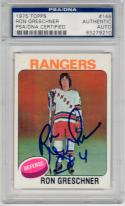 Ron Greschner Rangers signed 1975 Topps Rookie Hockey card RC PSA/DNA Slab auto