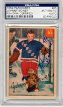 Johnny Bower Maple Leafs signed 1954 Parkhurst Hockey Rookie Card #65 PSA/DNA Slab