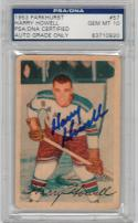 Harry Howell Rangers signed 1953 Parkhurst Hockey Rookie Card PSA/DNA auto GR 10