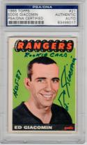 Eddie Giacomin Rangers signed 1965 Topps Rookie card inscription RC PSA/DNA auto