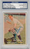 Jerry Coleman signed 1957 Topps baseball card #192 PSA/DNA Slab autographed Yankees