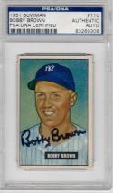 Bobby Brown signed 1951 Bowman baseball card #110 PSA/DNA Slab auto Yankees