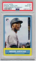 Miguel Andujar Yankees 2018 Topps Throwback Thursday 1963 Fb design Rookie RC PSA 10