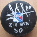 Henrik Lundqvist Rangers signed Game Used Hockey Puck from shootout win Steiner COA
