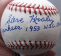 Steve Kraly single signed MLB Baseball Ball PSA/DNA auto 1953 Yankees inscription