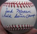 Zach Monroe single signed MLB Baseball Ball PSA/DNA auto 1958 Yankees inscription