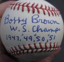 Bobby Brown Yankees single signed MLB Baseball Ball PSA/DNA auto WS Champs 1947, 49, 50, 51 inscription
