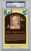 Pat Gillick Signed Yellow HOF Plaque Postcard PSA/DNA auto HOF 2011 inscription