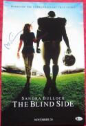 Michael Lewis Signed 12x18 Mini Blind Side Movie Poster Beckett BAS auto Oher