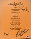 Allman Brothers 3x signed 8x10 Melissa Lyrics Sheet Beckett BAS Gregg Allman Jaimoe Butch Trucks
