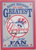 Yankees 11x signed Birthday Card Beckett BAS auto Bauer Richardson Slaughter McDougald