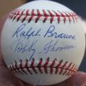Bobby Thomson Ralph Branca signed Baseball Ball PSA/DNA Shot Heard Round inscrip
