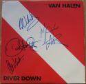 Van Halen 4x signed LP Album Cover Diver Down BAS Beckett Eddie David Lee Roth Michael Anthony Alex Van Halen