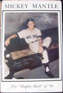 Mickey Mantle Yankees signed 24x36 Gallo Poster Beckett BAS TC 1956 inscription auto