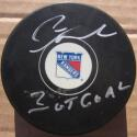 Pete Stemkowski signed Rangers Hockey Puck PSA/DNA auto 3OT Goal Inscription