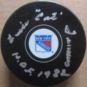 Emile Cat Francis signed Rangers Hockey Puck PSA/DNA auto HOF 1982 inscription