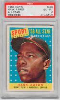 1958 Topps Hank Aaron All-Star #488 Card PSA 6 EX-MT Braves HOF