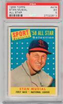 1958 Topps Stan Musial All-Star #476 Card PSA 5 EX Cardinals HOF Centered