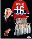Henri Richard signed 8x10 Photo Montreal Canadiens HOF 79 Inscription PSA/DNA auto