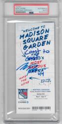 Neal Pionk Rangers signed Ticket Coast to Coast Goal 11/6/18 PSA/DNA Slabbed auto