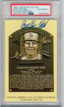 Carlton Fisk Red Sox White Sox Signed Yellow HOF Plaque Postcard PSA/DNA auto
