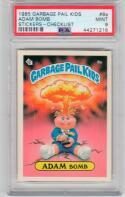 1985 Topps Garbage Pail Kids 8a Adam Bomb PSA 9 Checklist back RARE