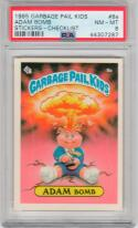 1985 Topps Garbage Pail Kids 8a Adam Bomb PSA 8 Checklist back RARE