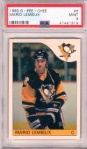 1985 O-Pee-Chee OPC Mario Lemieux Rookie Card #9 RC PSA 9 MINT Penguins